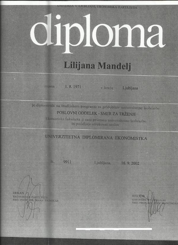 Mandelj_diploma VII. univ.dipl.ekon.